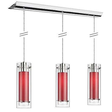 Dainolite 3LT Pend Clear Frosted Glass-red Slv 15 x 5 x 5 in Polished Chrome (22153-795-PC)