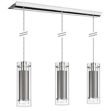 Dainolite 3LT Pend Clr Fr Gl W Sglo Steel Slv 15 x 5 x 5 in Polished Chrome (22153-834-PC)