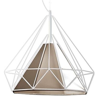 Dainolite – Luminaire suspendu à cadre en métal abat-jour havane, 1 ampoule, 16 x 18 x 18 po, blanc mat (246-181P-TAN)