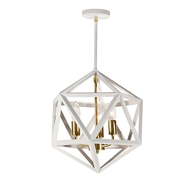 Dainolite 3LT Chandelier 16 x 13 x 13 in Matte White (ARC-143C-WH-VB)