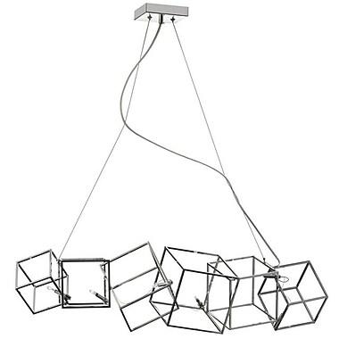 Dainolite – Luminaire suspendu horizontal à cubes multiples, 6 ampoules, 9 x 9 x 32 po, chrome poli (CBE-316HP-PC)