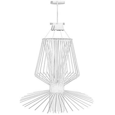 Dainolite – Luminaire carillon suspendu en fils, 40po de diamètre, 4 ampoules, 42,5 x 40 x 40, blanc semi lustré (CMP1-404LP-WH)