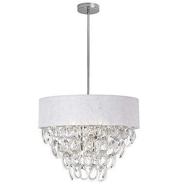 Dainolite 6LT Glass Loop Chandelier W Wh Shd 2400 16 x 23 x 23 in Polished Chrome (CRS-246C-WH)
