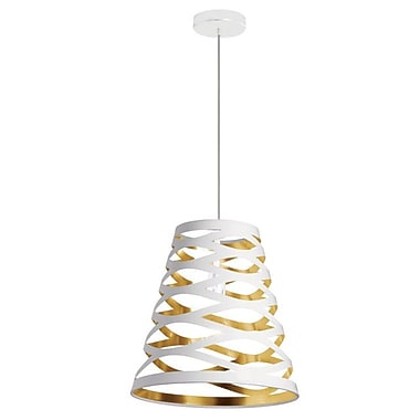 Dainolite 1LT Cut Out Pendant Jtone 15 x 14 x 14 in White/gold (CUT14-692)