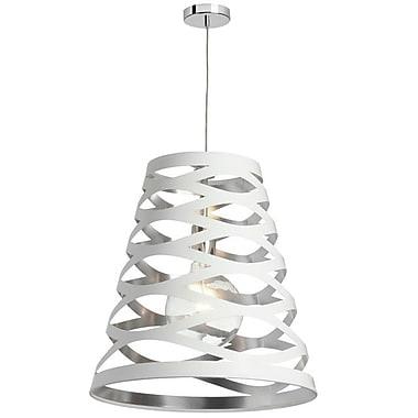 Dainolite – Luminaire suspendu ajouré Baron, découpe 22-691, 1 lumière, 23,5 x 22x 11 po, blanc/argenté (CUT22-693)