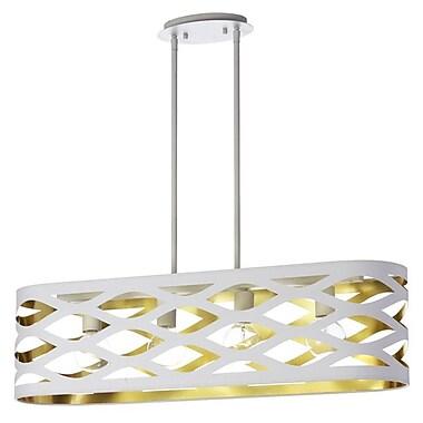 Dainolite – Luminaire suspendu horizontal avec abat-jour oval Jtone, 4 ampoules, 9 x 33 x 8 po, blanc/doré (COUPER-334HP-692)