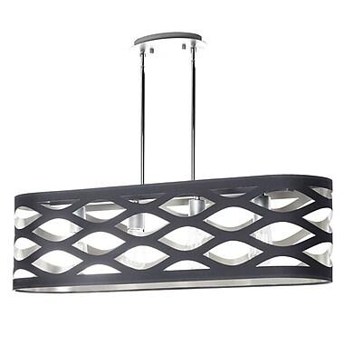 Dainolite – Luminaire suspendu horizontal avec abat-jour ovale Jtone, 4 lumières, 9 x 33 x 8 po, noir/argenté (COUPER-334HP-697)