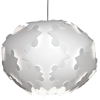 Dainolite – Luminaire suspendu Daino Ball Flake Jtone à 3 ampoules, grand, 17 x 24 x 24 po, blanc (DBF-L-790)