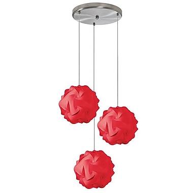 Dainolite – Luminaire suspendu Globus Jtone à 3 ampoules, petit, 9 x 9 x 9, rouge (DBL-3SR-795)