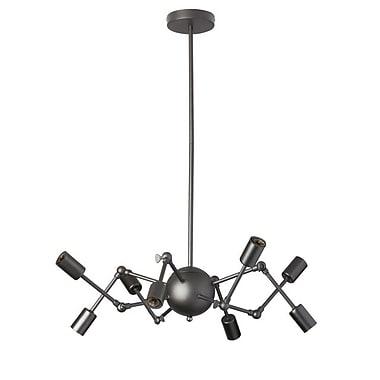 Dainolite – Lustre avec bras ajustables, 8 ampoules, 10 x 28 x 28 po, noir mat (DRS-288C-MB)