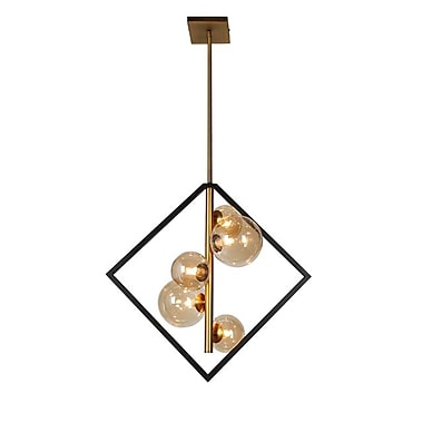 Dainolite – Luminaire suspendu, 5 ampoules, 21 x 20 x 11 po, noir mat/bronze rétro (GLA-215P-MB-VB)