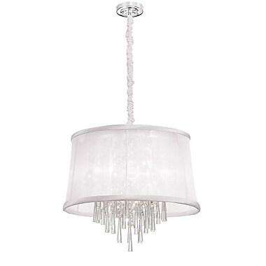 Dainolite – Lustre avec cristal, 6 ampoules, abat-jour en organza blanc, 17 x 22 x 22 po, chrome poli (JUL226-PC-119)