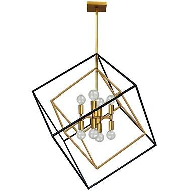Dainolite – Luminaire suspendu, 8 ampoules, 30 x 27 x 25 po, bronze rétro (KAP-278P-VB-MB)