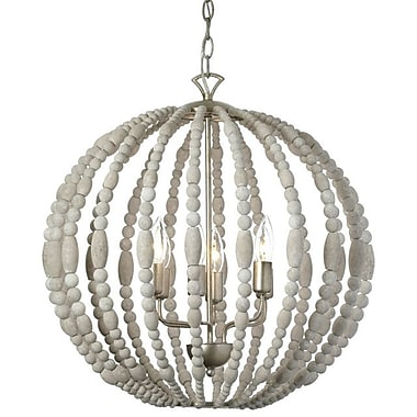 Dainolite 6LT Wooden Chandelier 22 x 21 x 21 in White Washed (LAU-216C-PG)
