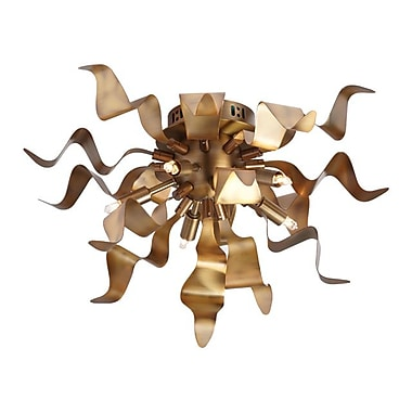 Dainolite 5LT Flush-mount With Wavelet Ribbons 10 x 16 x 16 in Vintage Bronze (MRM-165FH-VB)