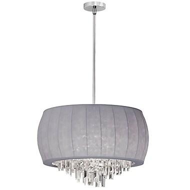 Dainolite – Lustre avec décorations en cristal et lycra argenté à 6 ampoules, 14 x 22 x 22 (po) en chrome poli (MYA-22C-PC-923)