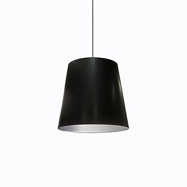Dainolite – Luminaire suspendu à 1 ampoule, 16 x 20 x 20 (po) avec abat-jour surdimensionné noir et argenté (OD-M-697)