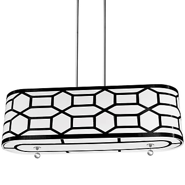 Dainolite 4LT Horizontal Pendant 10 x 34 x 9 in Black/white (PEM-344HP-PC-BW)
