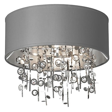 Dainolite 4LT Crystal Semi Flush W Stl-sv Shd 15 x 16 x 16 in Polished Chrome (PIC164FH-PC-SV)