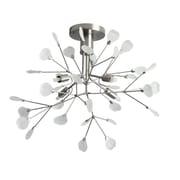 Dainolite 4LT Semi-flush Mount W Frosted Glass 12 x 19 x 19 in Satin Chrome (PMN-194SF-SC)