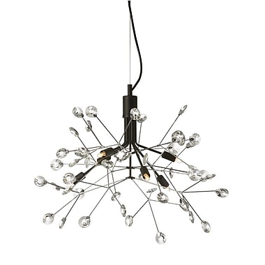 Dainolite 6LT Chandelier Black and Polished Chrome Finish 17 x 23 x 23 in Clear (PRS-236C-BK-PC)