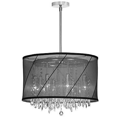 Dainolite – Luminaire suspendu 6 ampoules Organza, abat jour noir, 10,5 x 18 x 18 po, chrome poli (SAF-18-6-1515)