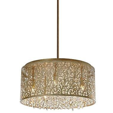 Dainolite – Lustre 8 ampoules en cristal avec motifs floraux, 9,5 x 20 x 20 po, palladium doré (SIE-208C-PG)