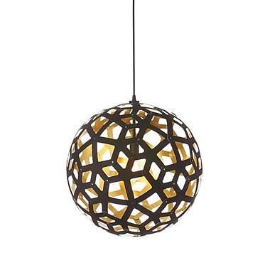 Dainolite – Luminaire à 1 ampoule, 18 x 18 x 18 po, noir/doré (TAL-181P-698)