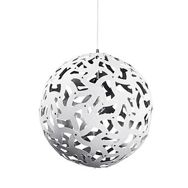 Dainolite – Luminaire suspendu à 1 lumière, 18 x 18 x 18 po, blanc/argenté (TON-181P-691)