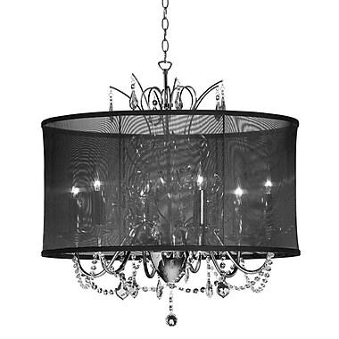Dainolite – Luminaire suspendu en cristal, 5 ampoules, abat-jour noir, 19 x 20 x 20 po, chrome poli (VNA-20-5-115)