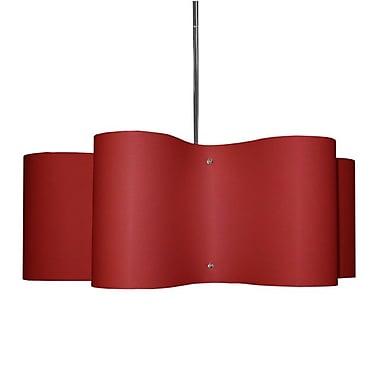 Dainolite – Luminaire suspendu à abat-jour tambour ondulé JTone, 3 ampoules, diff. 195F, 8,5 x 24 x 24 po, rouge (ZUL-243-PC-RD)