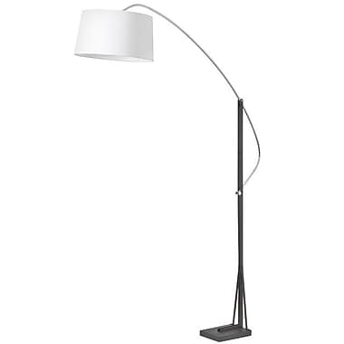 Dainolite Arc Floor Lamp W Wh Linen Shade 83 x 58 x 18 in Polished Chrome/matte Black (585F-PC-BK)