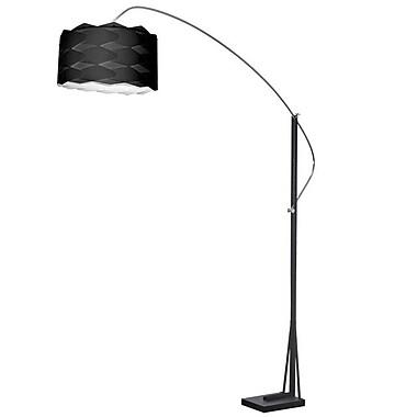 Dainolite – Lampe de sol en arc avec abat-jour noir, 83 x 58 x 18 po, chrome poli/noir mat (585F-WV-BK)