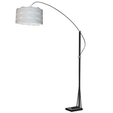 Dainolite Arc Floor Lamp W Wh Shd 83 x 58 x 18 in Polished Chrome/matte Black (585F-WV-WH)