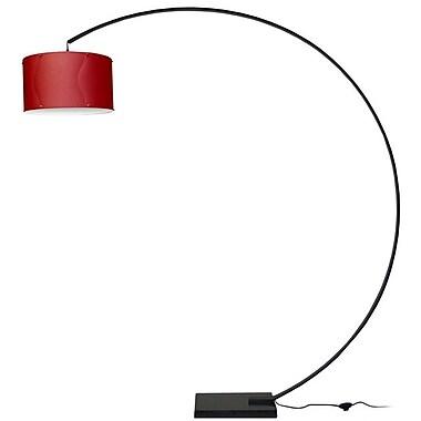 Dainolite – Lampe de sol avec arc en aluminium et abat-jour rouge, 79 x 74 x 18 po, noir (KDARC-BK-RD)