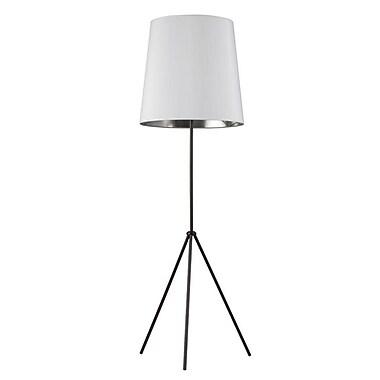 Dainolite – Lampe de sol à trépied, 1 ampoule avec abat-jour blanc et argenté, 66 x 22 x 22 po, fini noir mat (OD3-F-691-MB)