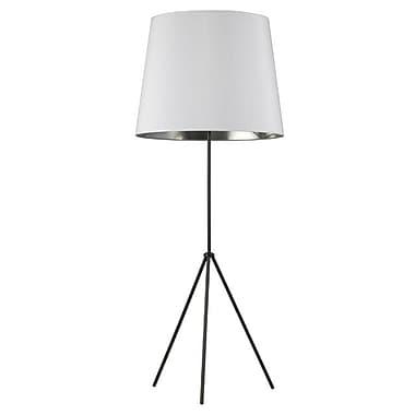 Dainolite – Luminaire cylindre, 1 ampoule, 3 pieds, abat-jour blanc et argenté, 66 x 22 x 22, noir mat (OD4L-F-691-MB)
