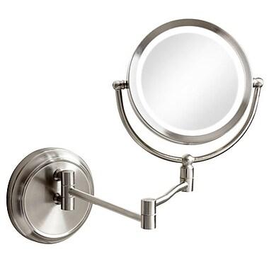 Dainolite – Miroir grossissant à éclairage à DEL intégré et à bras pivotant, 10 x 3 x 3 (po), chrome satiné (LEDMIR-1W-SC)