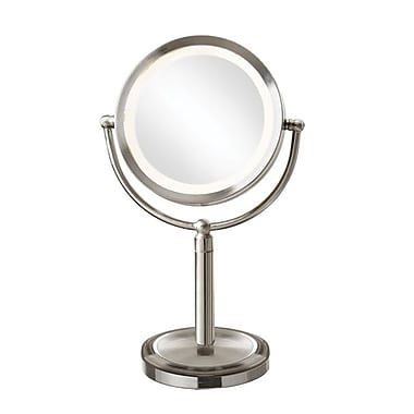 Dainolite LED Table LED Lighted Magnifier Mirror 15 x 9.5 x 6 in Satin Chrome (LEDMIR-2T-SC)