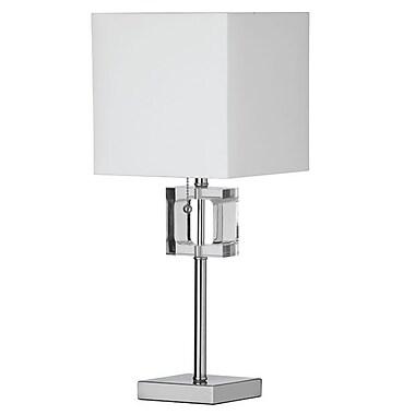 Dainolite – Lampe carrée avec cristal et abat-jour blanc, 1 ampoule, 20,5 x 8 x 8 po, chrome poli (C35T-PC)