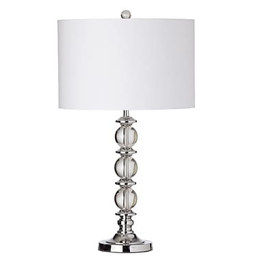Dainolite – Lampe avec sphères de cristal et abat-jour blanc, 1 ampoule, 28 x 15,5 x 15,5 po, chrome poli (C39T-PC)