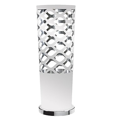 Dainolite – Lampe de table ajourée JTone, 1 ampoule, 21 x 7,5 x 7,5 po, blanc/argenté (CUT-T-691)