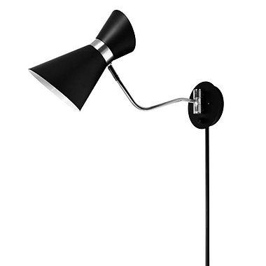 Dainolite – Lampe murale, 1 ampoule, 11 x 6 x 22 po, noir (1681W-BK-PC)