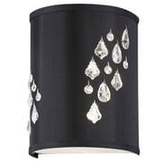 Dainolite – Chandelier d'applique mural 2 ampoules avec décorations de cristal, 11 x 6 x 8 po, noir/argenté (RHI-8R-2W-694)