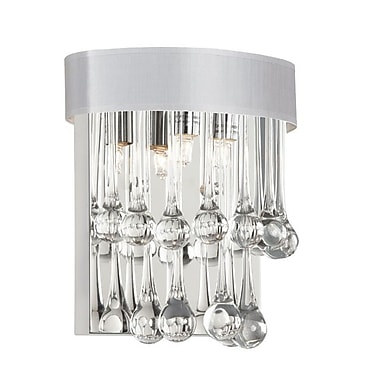 Dainolite 2LT Wall Sconce -glass Droplets W Wht Shd 9.5 x 9 x 9 in Clear (TAM-92W-WH)