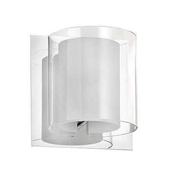 Dainolite – Applique murale, 1 ampoule, abat-jour en verre double, 5 x 5 x 5 po, chrome poli (V311-1W-PC)