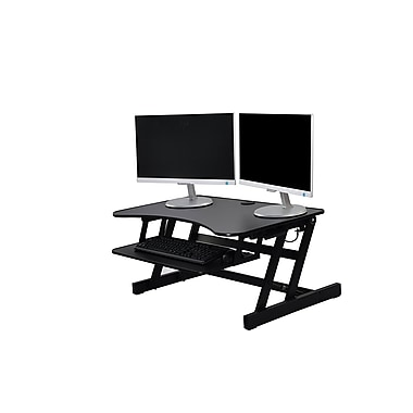Rocelco – Plateforme ergonomique réglable en hauteur EADR, 32 po, pour bureau assis debout avec poignées haut/bas faciles, noir
