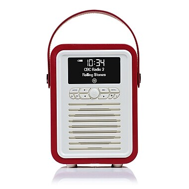 New Dawn Innovations – Mini radio rétro DAB+, haut-parleur Bluetooth VQ-MINI-RD/US, rouge