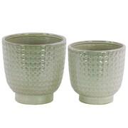 Urban Trends Round 2-Piece Ceramic Pot Planter Set