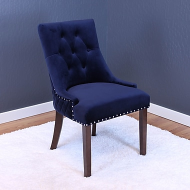 Willa Arlo Interiors Chambers Velvet Parsons Chair (Set of 2); Ink Navy